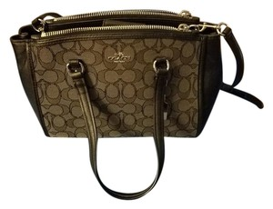 Coach Leather Fabric Cross Body Bag