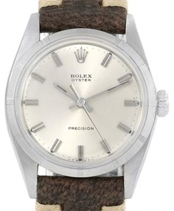 Rolex Rolex Precision Vintage Stainless Steel Leather Strap Watch 6427