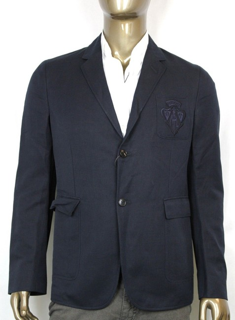 Gucci Navy Hysteria New Men's Cotton Linen Crest Jacket It 56 / Us 46 353870 4440 Groomsman Gift Gucci Navy Hysteria New Men's Cotton Linen Crest Jacket It 56 / Us 46 353870 4440 Groomsman Gift Image 1