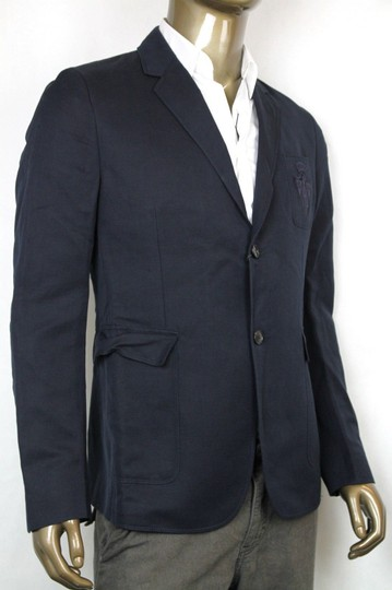 Gucci Navy Hysteria New Men's Cotton Linen Crest Jacket It 56 / Us 46 353870 4440 Groomsman Gift