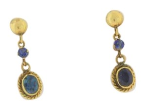 Other Victorian Dangle Drop Sapphire Earrings- 14k Yellow Gold