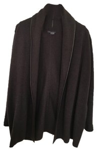 Vince New (only worn once) Leather Trim Sweater/Car Coat Dark Brown