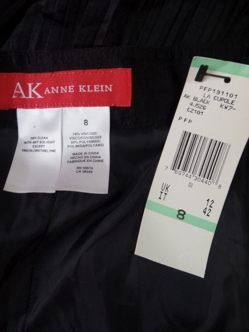 Anne Klein Accordion Shiny Pleat New Skirt Black