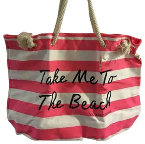 Victoria's Secret Tote pink and white Beach Bag