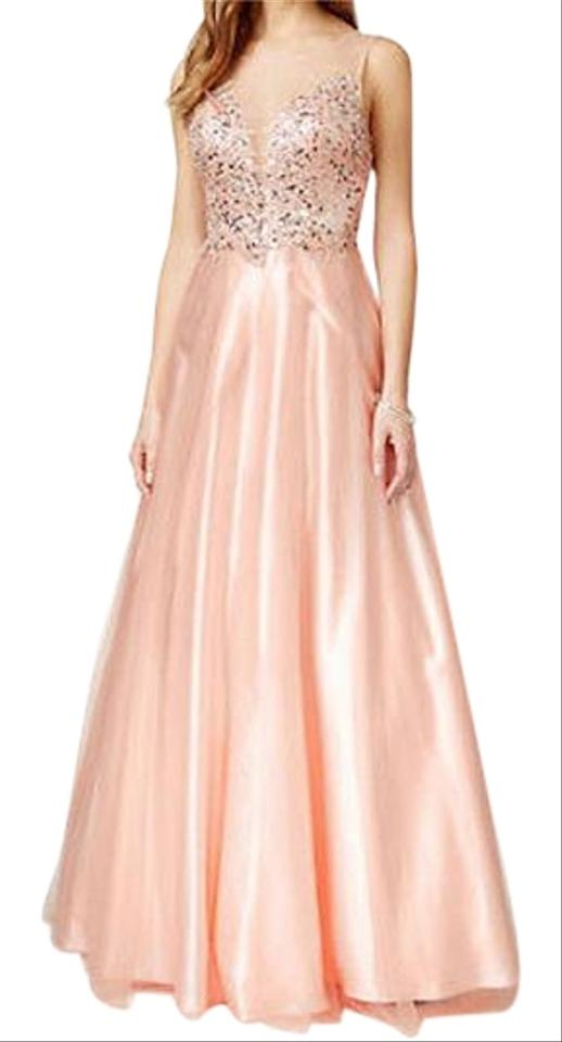 Betsy & Adam Blush Illusion Embellished Sweetheart Gown Long Formal ...
