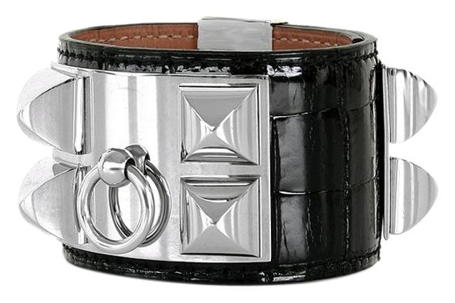 Hermès Black Cdc Alligator Collier De Chien Bracelet Hermès Black Cdc Alligator Collier De Chien Bracelet Image 1