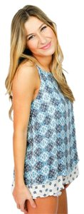 The Impeccable Pig Flowly Lined Top Blue/White