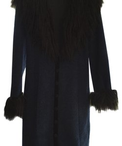 Betsey Johnson Faux Fur Trimmed Fur Coat