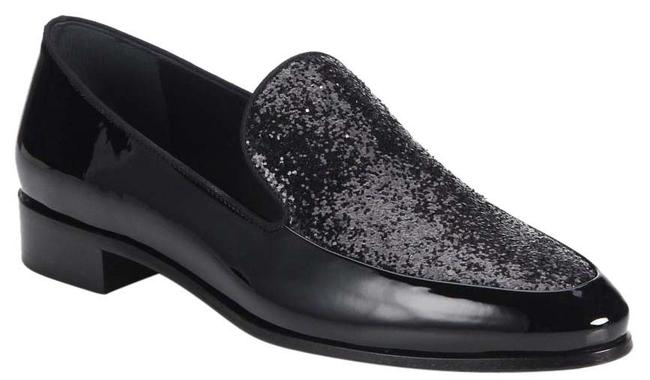 Item - Black Loafer Patent Leather with Glitter Flats Size US 6.5 Regular (M, B)