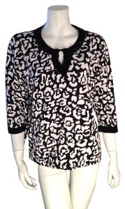 Cathy Daniels Black And White Beaded Size Large Sweater