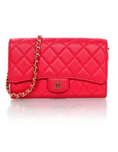 Chanel Leather Quilted Flap Woc red Clutch