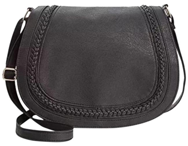 Item - Braided Saddle Black Faux Leather Cross Body Bag