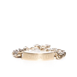Chanel ID Bracelet with Engraved Logo and Curb Chain