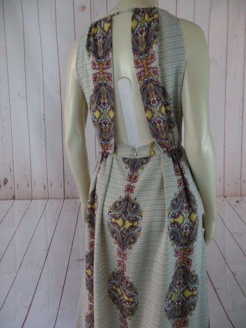 Cream, Tan, Rust, Gold Maxi Dress by MM Couture New Long Floral Sleeveless Boho