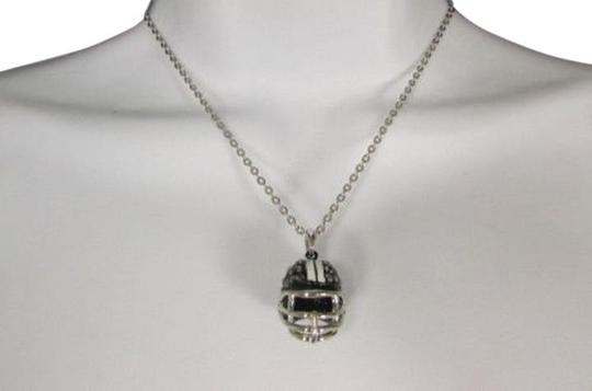Other Women Necklace Silver Chains Football Rhinestons Helmet Mini Pendant