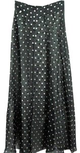 Dana Buchman Silk Polka Dot Sz 10 Maxi Skirt Black & White