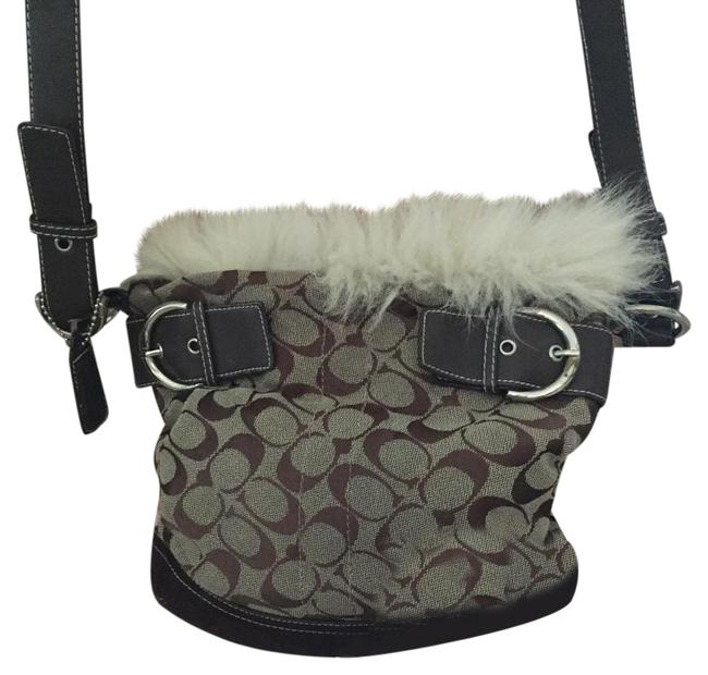 Coach The Furry Chocolate Brown Canvas Suede Messenger Bag Coach The Furry Chocolate Brown Canvas Suede Messenger Bag Image 1