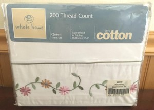 Queen Sheet Set White Cotton Floral Green Pink Yellow Flowers