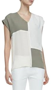 Theory Talda C Silk Silk V-neck Top Beige/Taupe