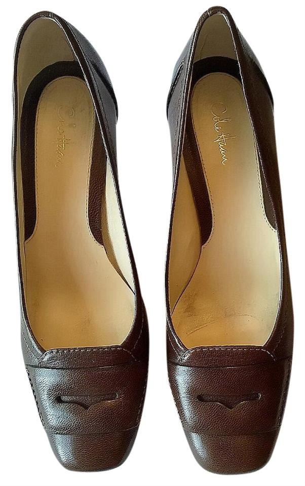 Cole Pebbled Haan Brown Pebbled Cole Leather Penny Loafer Pumps e7f5c9