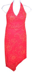 David Meister Asymmetrical Hem Halter Red Summer Slinky Dress