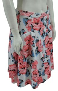 INC International Concepts Skirt White with Pink Roses