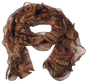 Lauren Ralph Lauren Black Paisley Sheer Silk Blend Metallic Stripe Eliza Ruffle Scarf