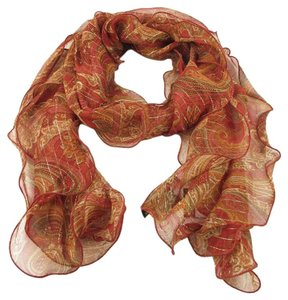 Lauren Ralph Lauren Red Paisley Sheer Silk Blend Metallic Stripe Eliza Ruffle Scarf