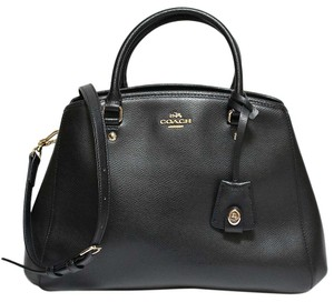 Coach Gold Hardware Leather Crossgrain Leather Two Way Navy Satchel in Black