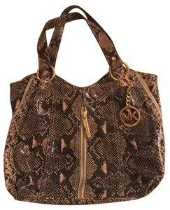 Michael Kors Mk Python Shiny Moxley Shoulder Bag