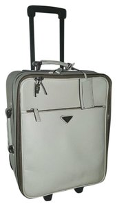 Prada Luggage Saffiano Leather Trolley Chalk White Travel Bag