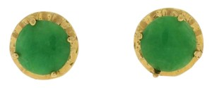 Other 60s Green Jadeite Stud Earrings- 18k Yellow Gold