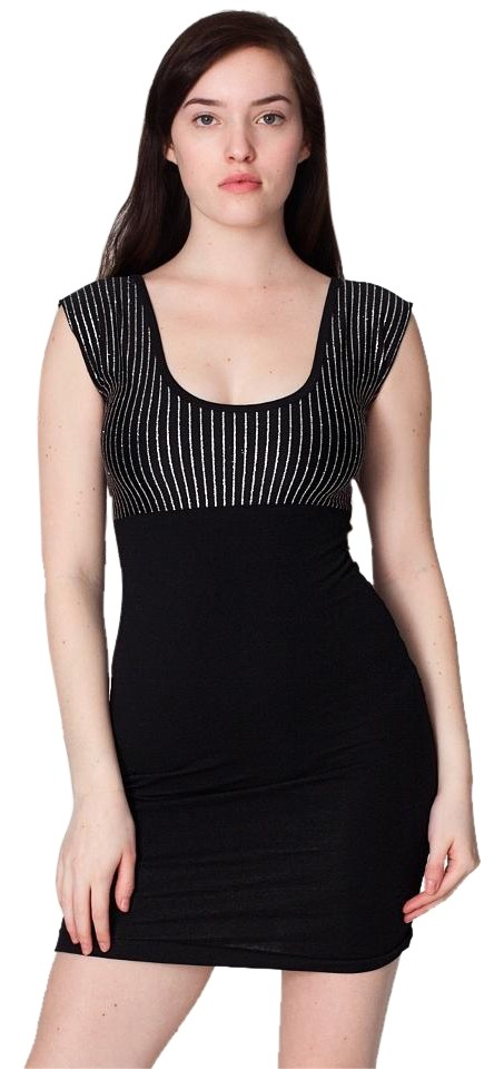 fd49f8e2521f American Apparel Black and Silver Stripe Sexy Bodycon With Night Out Dress