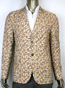 Gucci New Gucci Men's Flower Print Blazer Beige It 58/ Us 48 336814 7574