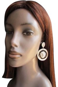 Other Women Silver Round Black Lion's Head Trendy Earring Set Safari African