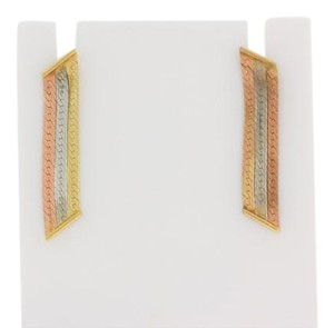 Other Italian Three Colored Embossed Vertical Bar Earrings- 14k Yellow Gold
