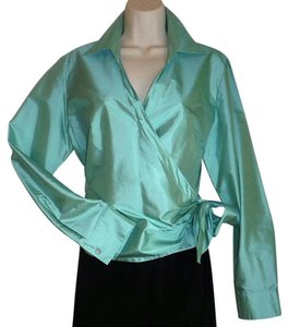 Talbots Taffeta Irridescent Formal Evening Turquoise Top Turquoise Green