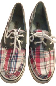Sperry White, red, blue Flats
