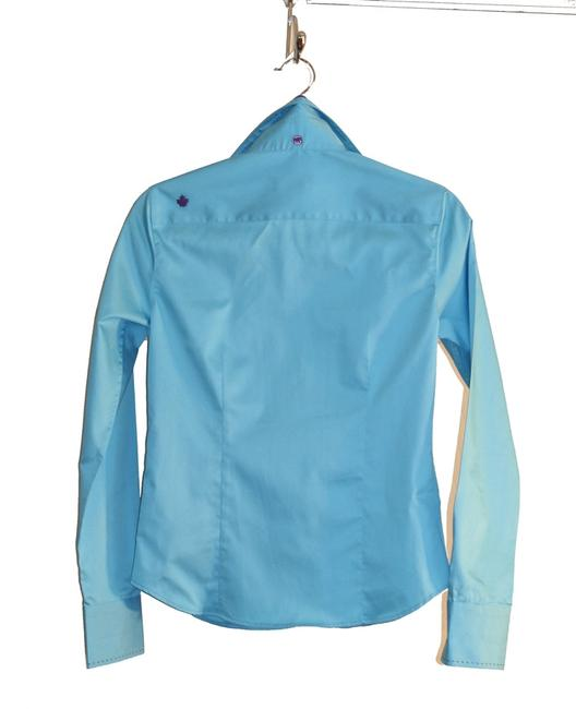 Hardwater Women Clothing Size 4-6 Size 4 Size 6 Cotton Cotton Long-sleeve New Small Purple Violet Satin Ribbon Slimming Top Turquoise Blue
