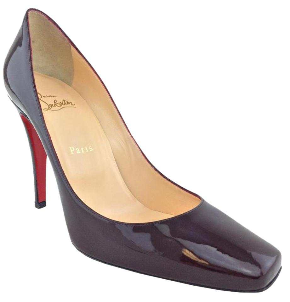 Christian Burgundy Louboutin Burgundy Christian Patent Leather Particule Pumps 0b8eb3