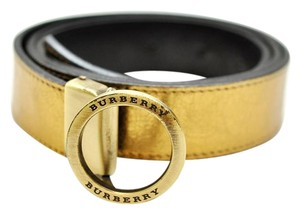 Burberry Gold leather buckle belt