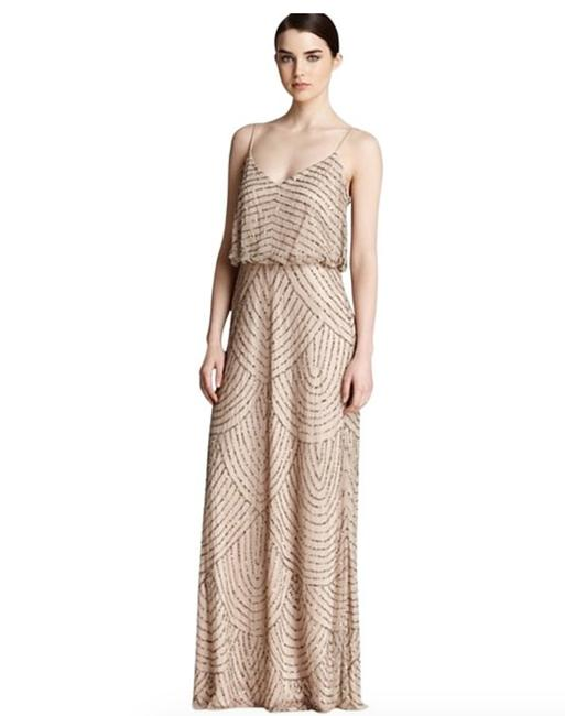 Item - (Taupe/Pink) Nylon Art Deco Blouson Beaded Gown Style# 09186670 Formal Bridesmaid/Mob Dress Size 16 (XL, Plus 0x)