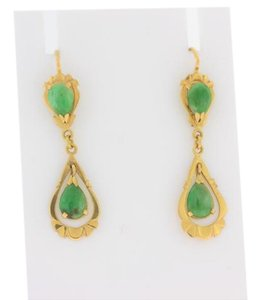 Other Antique Pear Cut Natural Jade Earrings- 18k Yellow Gold