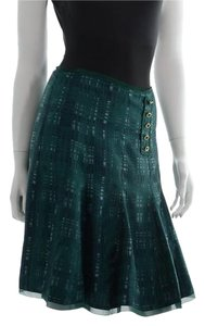 Tory Burch Silk Wess Silk Skirt Green