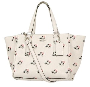 Coach Leather Floral Print Satchel in White