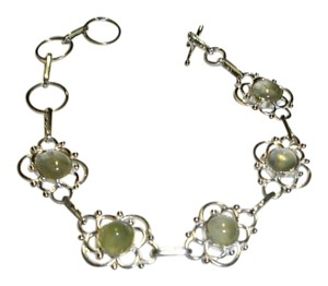 Silver Co. Peruvian Jade and .925 Sterling Silver Fine Link Bracelet
