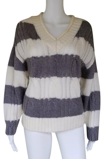 Item - Striped Knit V-neck Small S Gray White Sweater