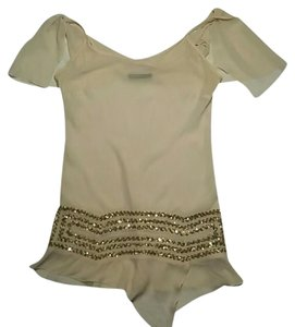 Patrizia Pepe Casual Formal Sequin Top Nude and Gold