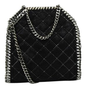 Stella McCartney Quilted Chain Faux Leather Satchel in Black