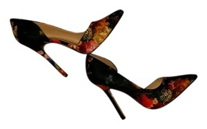 JustFab Floral Black Colorful Flowers Pumps